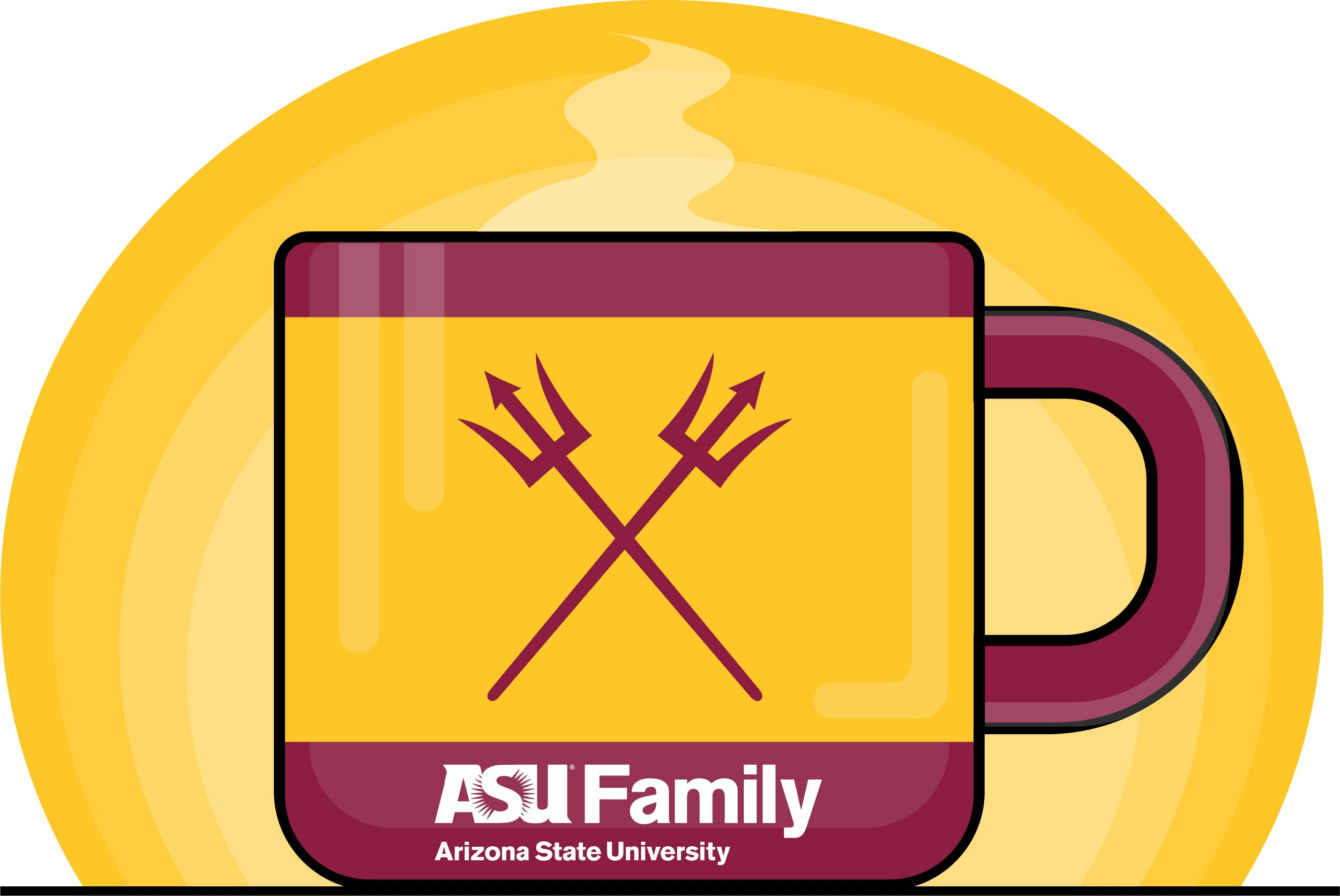 Art designed coffee mug graphic in ASU gold with maroon accents