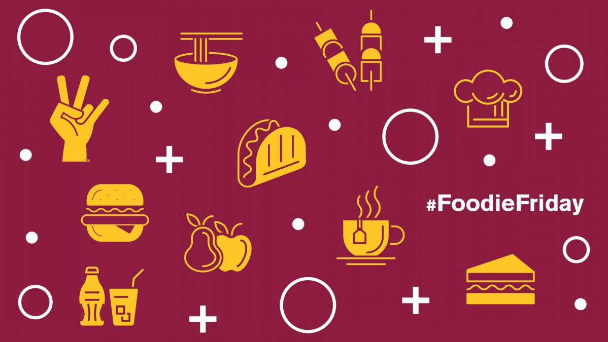 """Icon pictures of food products in gold, against a maroon background; text reads """"#foodiefriday"""" in white to one side"""
