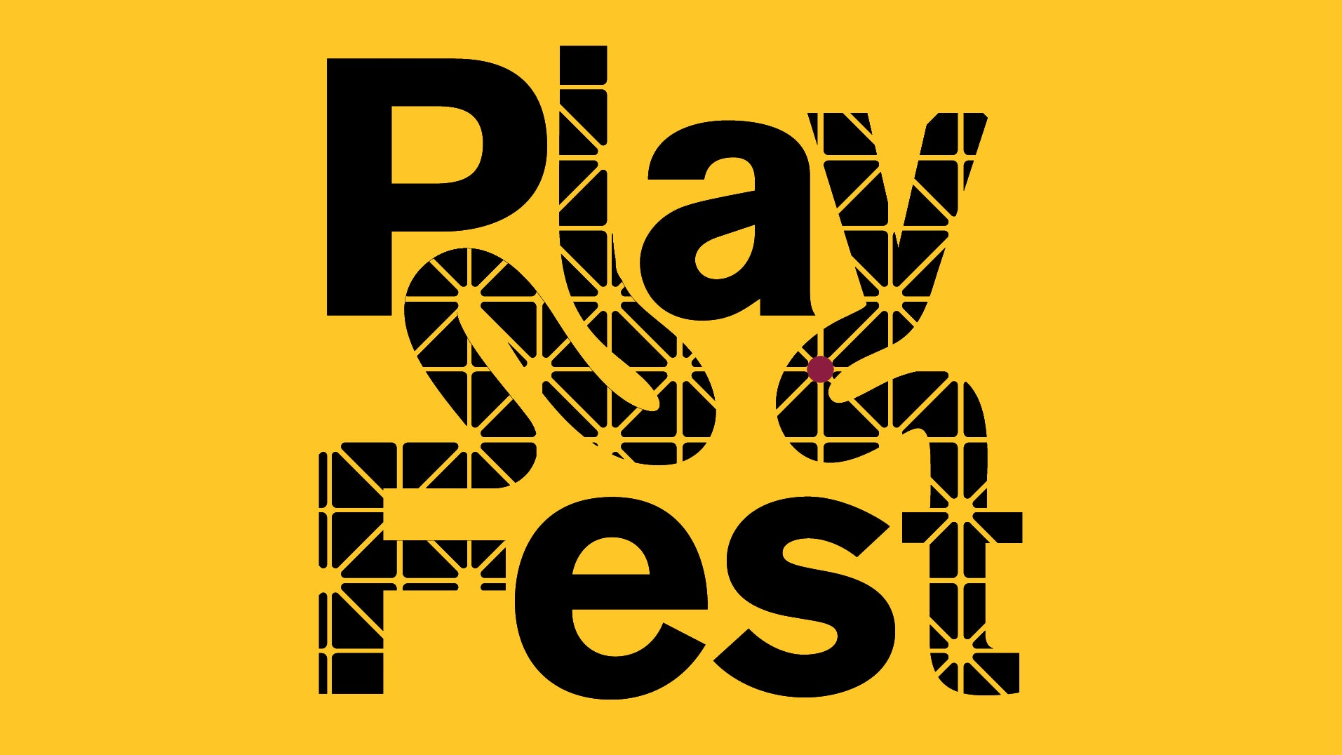 """Text reading """"Playfest"""" layed out in connected and tangled letters over a gold background"""