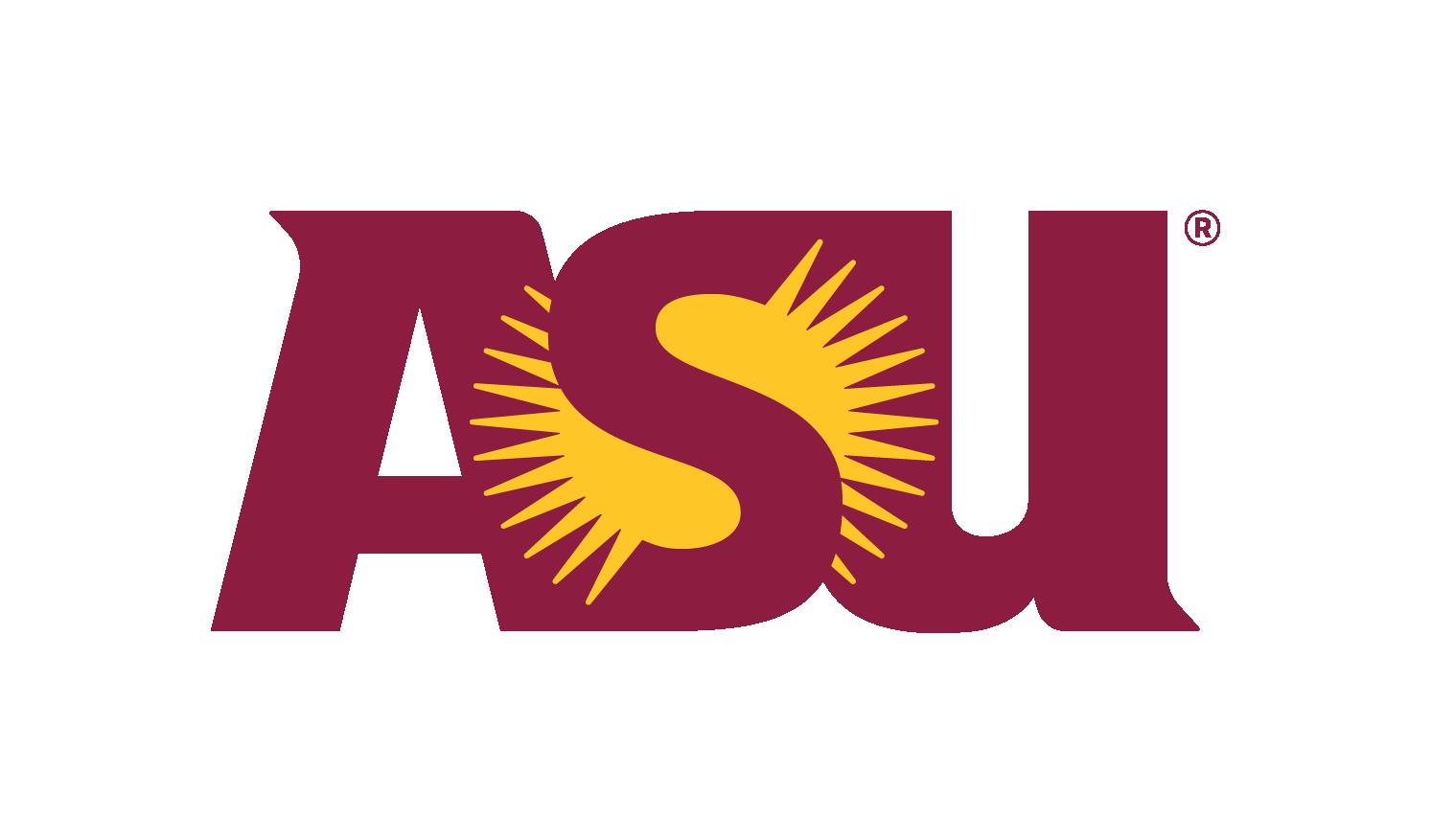 Maroon and gold ASU sunburst logo on a white background