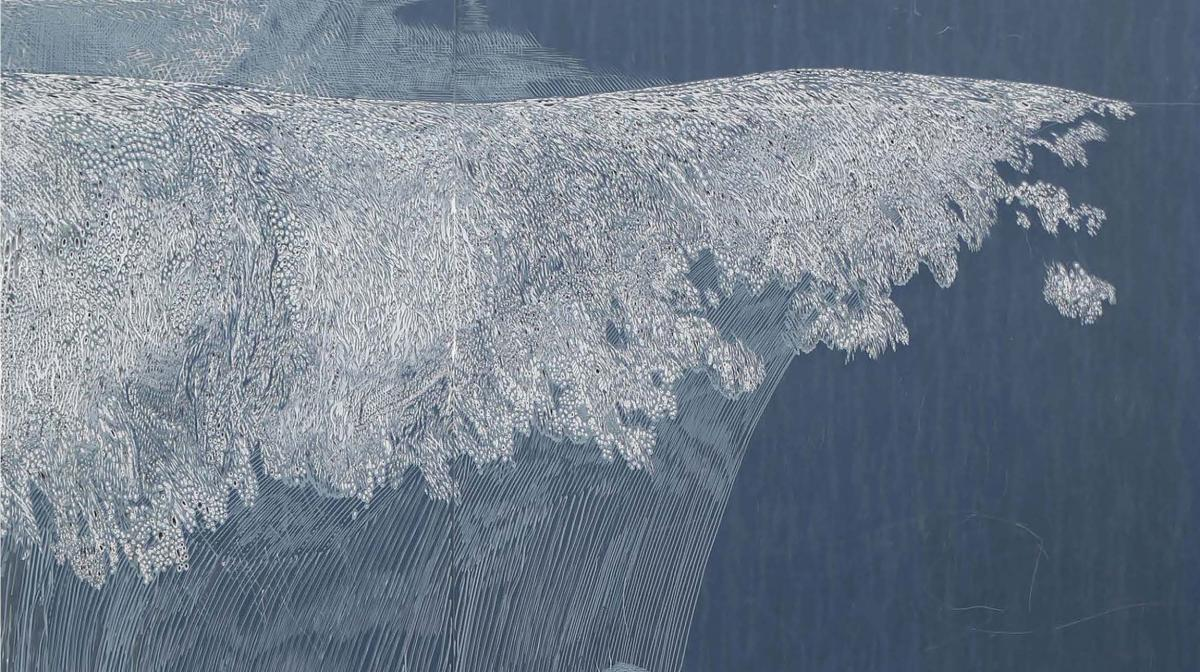 Close up sketch drawing of a breaking wave