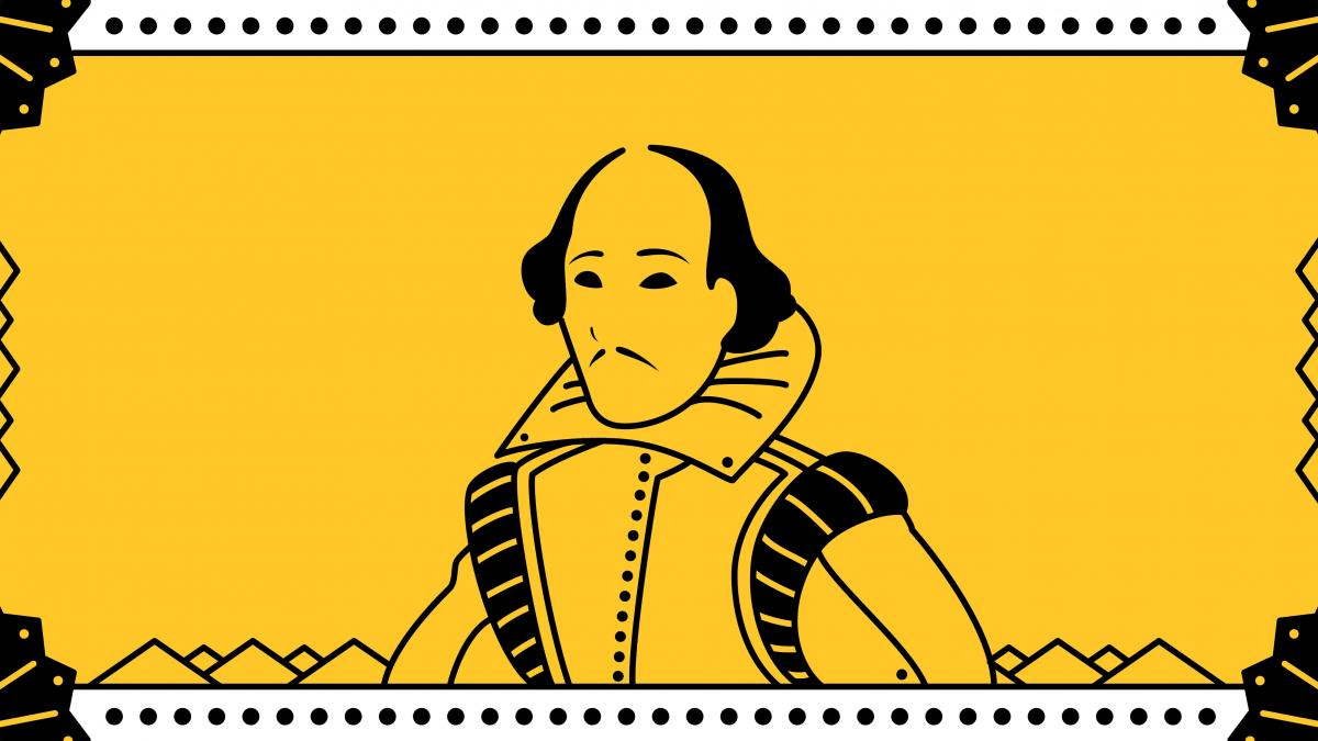 Gold background with simple black outline drawing of William Shakespeare