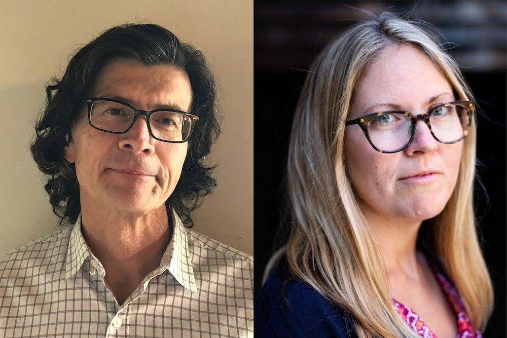 Headshot portraits of reporter Abbie Vansickle and professor Steven Raphael