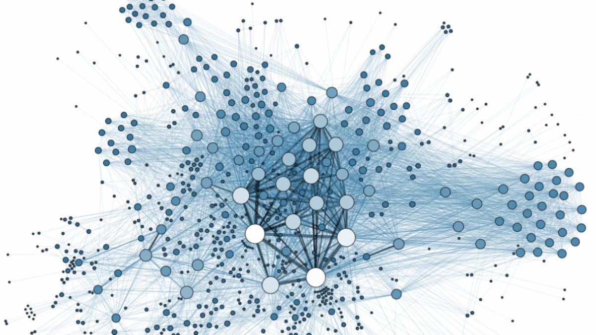 Blue webbing grid design over white background