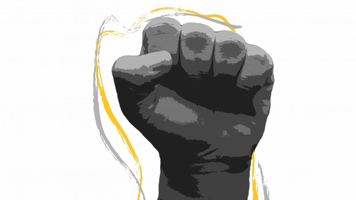 Brushstroke edited image of an upraised fist in black