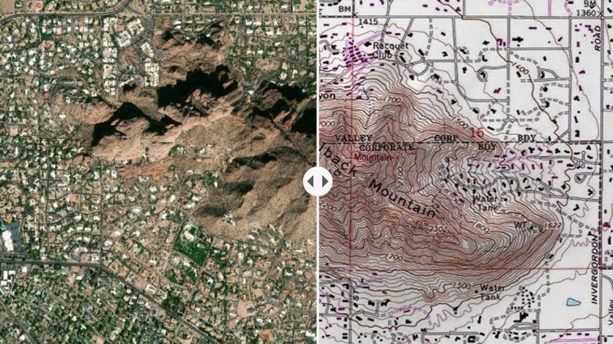 Split-view map of Camelback Mountain in Phoenix; with both satellite view and topographic view included