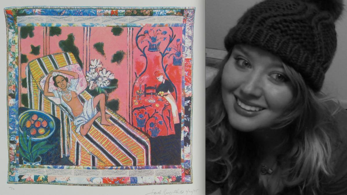 """""""Jo Baker's Birthday"""" (from 10x10: Ten Women/ Ten PrintsPortfolio); pictured alongside Dr. Kat Medill"""