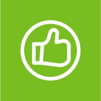 Thumbs up icon with green background