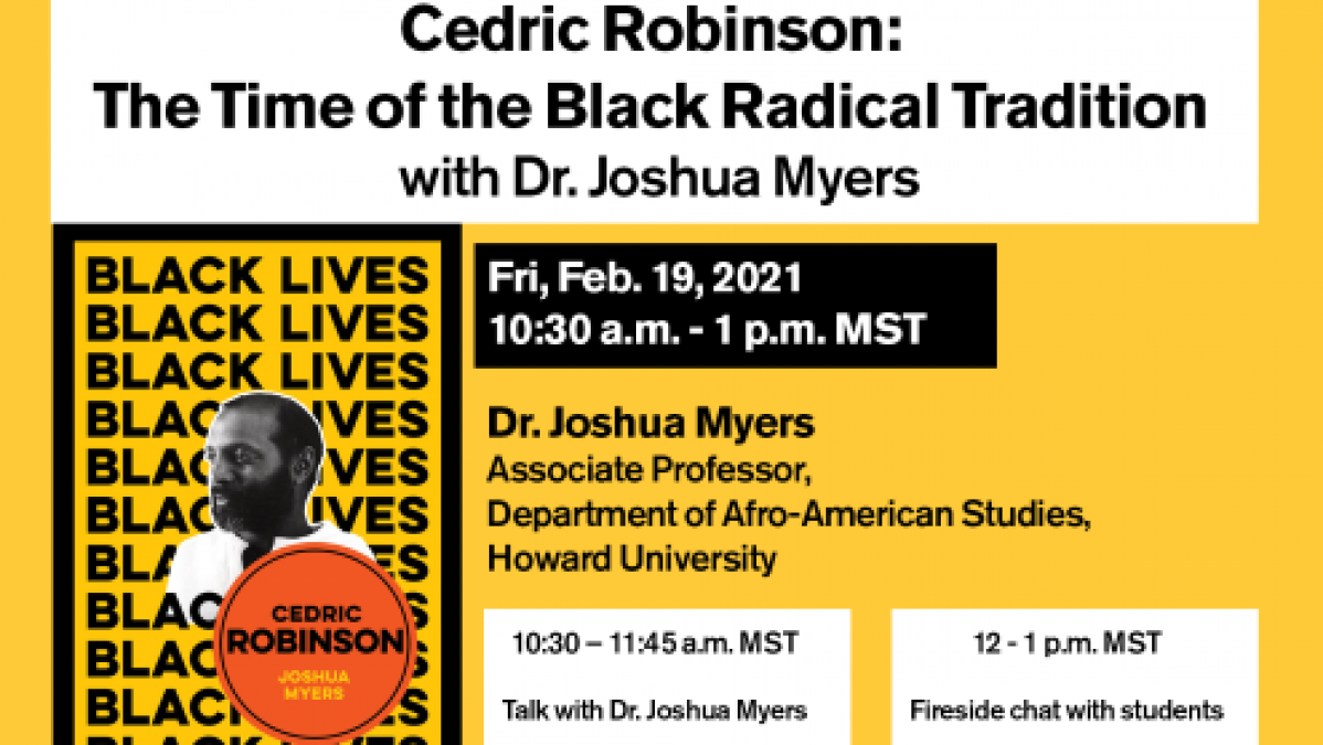 """Event flyer with a picture of Dr. Joshua Myer and the text """"Black Lives"""" repeated as a background"""