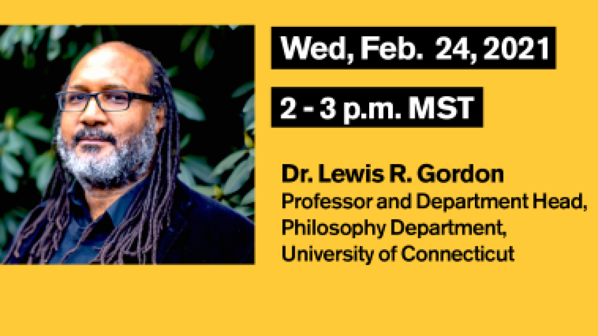 Portrait of Professor Lewis R. Gordon taken outdoors, alongside text with event information
