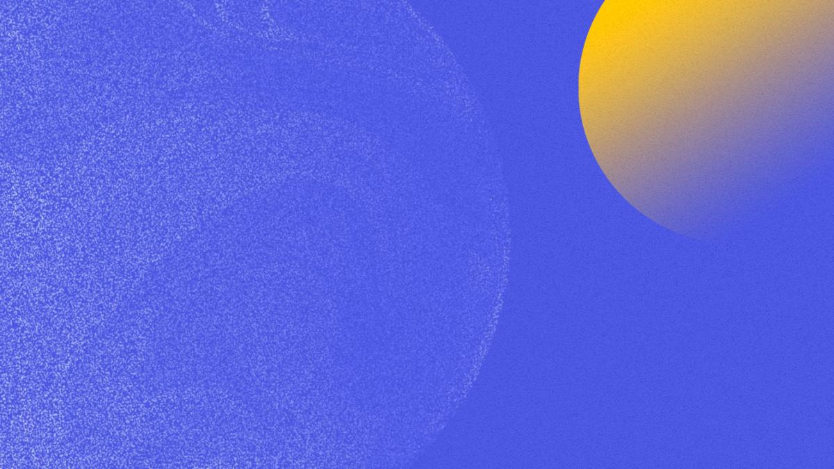 Abstract image of planets in space using high-contrast blue and yellow colors